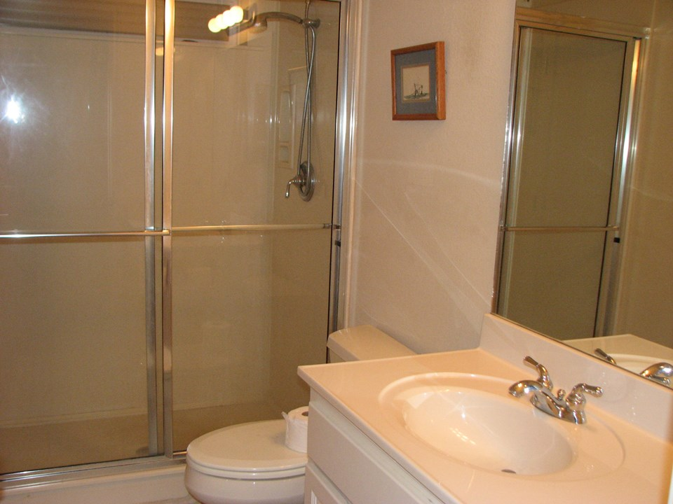 full bath with corian shower and vanity