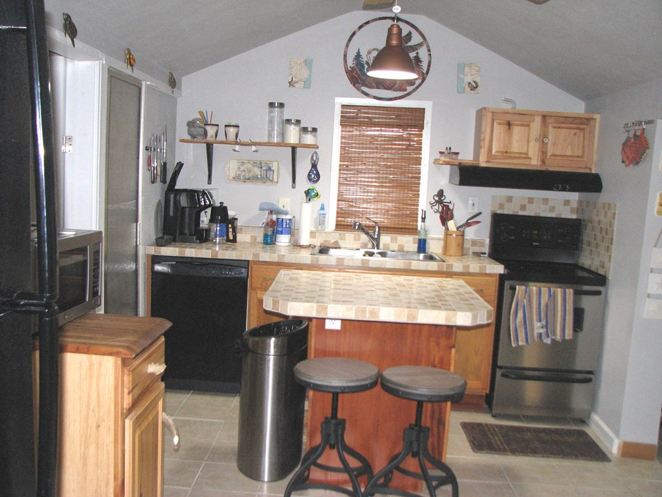 full view of kitchen with center island