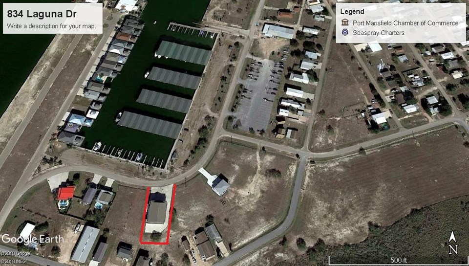 aerial view of property outlined in red